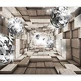 murando - Fototapete 3D Effekt 450x315 cm - Vlies Tapete - Moderne Wanddeko - Design Tapete - Wandtapete - Wand Dekoration - Holz Tunnel Kugel a-A-0155-a-b
