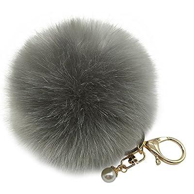 Webla Cute Pom Pom Fur Ball Artificial Rabbit Fur Pearl Pendant Key Chain Handbag Wallet Car Key Ring (Gray) : everything 5 pounds (or less!)