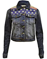 Womens Ladies Long Sleeve Button Up Denim Blue Star And Stripe/USA Flag Print American Jacket Top Size 8 10 12 14 16