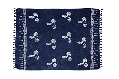 MANUMAR Mujer Pareo opaco, toalla de playa grandes Sarong en azul noche con motivo cáscara, Tamaño XL 175x115cm, toalla vestido de verano, bikini vestido de playa