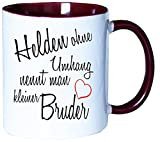 Mister Merchandise Kaffeebecher Tasse Helden ohne Umhang nennt man kleiner Bruder Schwanger baby Kind Schwangerschaft sohn Teetasse Becher Weiß-Bordeaux