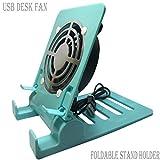 Escritorio USB Ventilador de Aire Ventilador Ventilador USB Mesa Escritorio Ventilador Portátil, Pequeño Ventilador USB Personal Smartphones Soporte de Soporte Soporte de Teléfono Celular Enfriamiento Enfriador Ventilador Pad de Enfriamiento Soporte de Soporte de Radiador Plegable-Azul