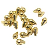 #3: BEADSNFASHION Jewellery Making Acrylic Drop Beads Golden, Size12x7 mm, Pack Of 50 Gm