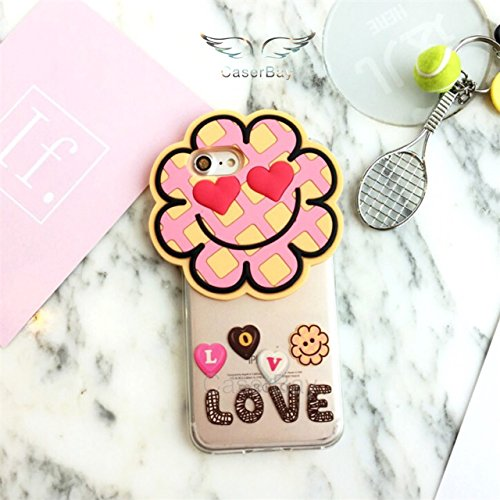 �Plus (14 cm) Handy Hülle 3D Cute Cartoon Verschiedene Helle Farbe Lollipop Flower Rainbow Cookies Soft Silikon Transparent Case Cover, Sun Flower Cookie for iPhone 7 Plus 5.5
