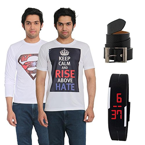 Fashion Bit 2 Multicolour Printed T-Shirts with a Belt and a Digital Watch Combo Pack