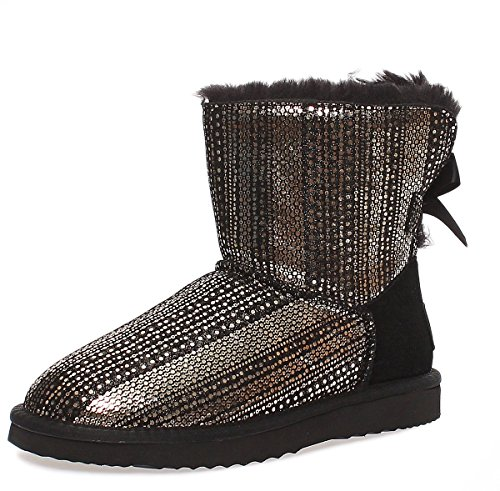 SKUTARI Wildleder Damen Frauen Winter Boots | Warm Gefüttert | Schlupf-Stiefel mit Stabiler Sohle | Schleife Pailletten Glitzer Meliert Schuhe Black 12
