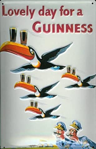 Tin Sign with Retro Guinness Lovely Day Tucan Pilot Sign