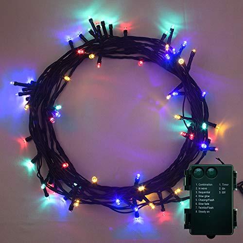 Luci natalizie,100 led multicolore uso interno ed esterno 8 modalità con funzione memoria e timer, a batteria - lunghezza 10m/ 33 piedi illuminata con cavo verde cavo