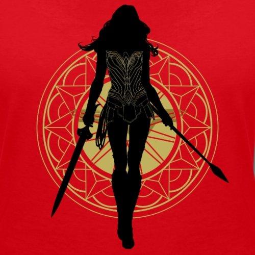 Warner Bros Wonder Woman Silhouette T-shirt col V Femme de Spreadshirt® Rouge