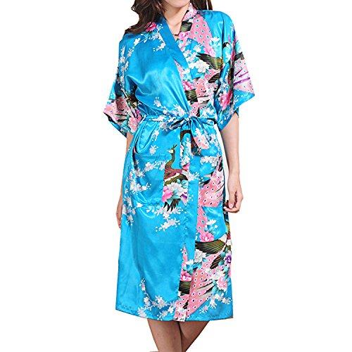 UTOVME Damen Seide Pfau Kimono Robe Kurzarm Seide Braut Lang Robe See Blau XL (Robe Spa Braut)