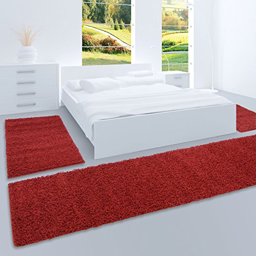 carpet city Shaggy Bettumrandung Hochflor-Teppiche in Rot, Bordeaux, Einfarbig für Schlafzimmer, 3-teiliges Läufer-Set: 2X 70x140 cm und 1x 70x250 cm