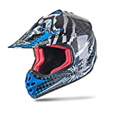 NENKI NK-303 Kinder Motocross Offroad Helm Für Kinder Dirt Bike (L 53-54CM, Schwarz Blau)