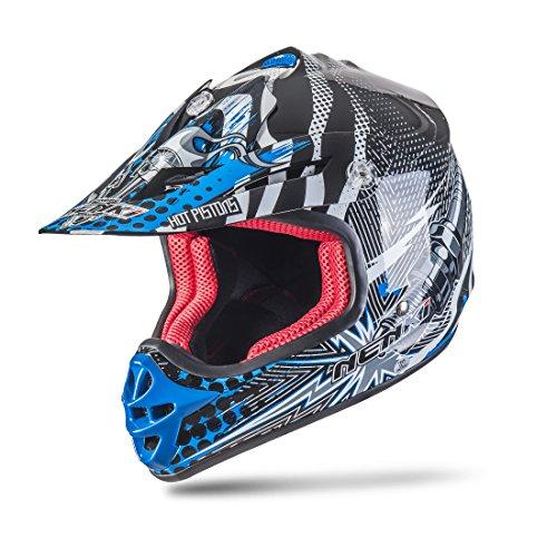 NENKI NK-303 Kinder Motocross Offroad Helm Für Kinder Dirt Bike (M 51-52CM, Schwarz Blau)