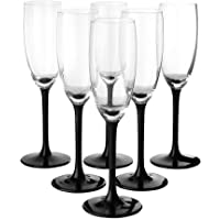 SOLAVIA Lot de 6 flûtes à champagne en verre, pied noir, 180 ml