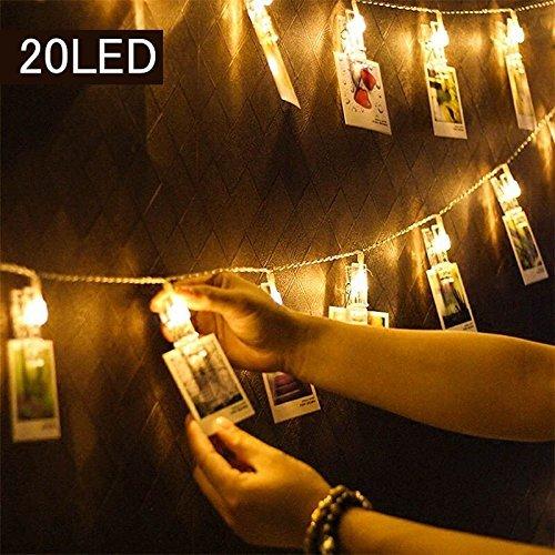 Uping LED Lichterkette 40 Foto Clips 2,4M warm weiß batteriebetrieben Foto-Clip 2 Modi Dekoration Stimmungsbeleuchtung für hängende Bilder, Notizen, Artwork, Memos Kunstwerke