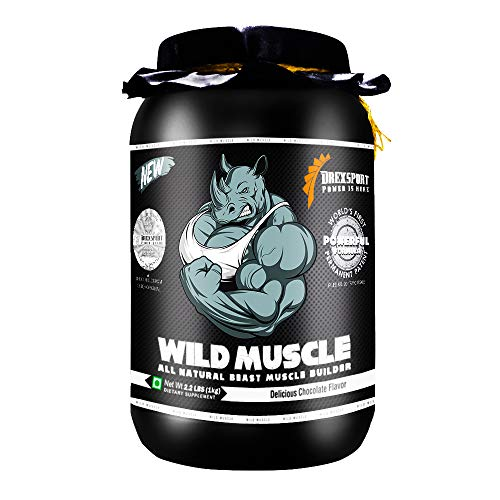 DREXSPORT - Wild Muscle - All Natural Muscle Builder Protein Powder - Blend of Whey Protein Isolate + Whey Protein Concentrate + Creatine HCL + BCAA + Glutamine + Withania - 1Kg Chocolate