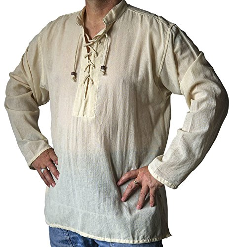 Piraten Einfache Kostüm Herren - Kurta-Shirt, Fair-Trade, Baumwolle, Hippie, Boho, Festival, Gothic, Larp, Piraten-Tag, Größe S bis 5XL, natürliche Färbung Gr. Medium, natur
