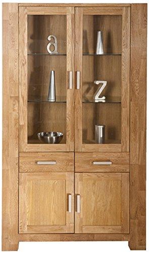 SIT-Möbel Zeus 1604-01, Vitrine mit 2 Schubladen & 4 Türen, Wildeiche geölt, naturfarbig, 106 x 44 x 190 cm - Eiche Massiv Vitrine