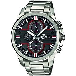 (Casio) Edifice EFR–543d–1a4vuef-men Reloj de esfera de color negro de cuarzo analógico correa de acero color gris