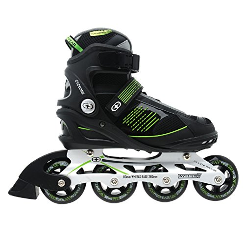 no-fear-mens-cyclone-inline-skates-roller-blades-four-wheel-sports-black-green-uk-8