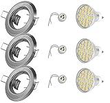 3er LED Set Einbaustrahler - Farbe: Edelstahl gebürstet - 230V GU10 5Watt LED 430Lm warmweiß - Material: Stahlblech - Lochausschnitt: 55mm - Außendurchmesser: 85mm