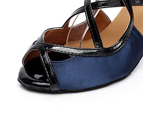 Minitoo QJ6180 Women's 3 cm Absatz, Satin Ballroom Latin Dance Sandalen Blau