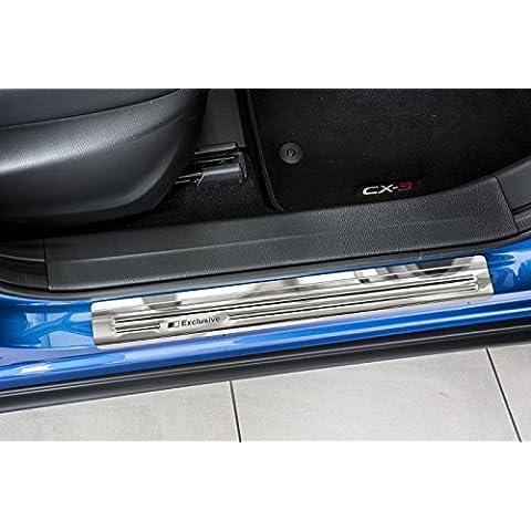 Exclusivos protectores de umbral de puerta en inoxidable para Mazda CX-3 año 03/2015-