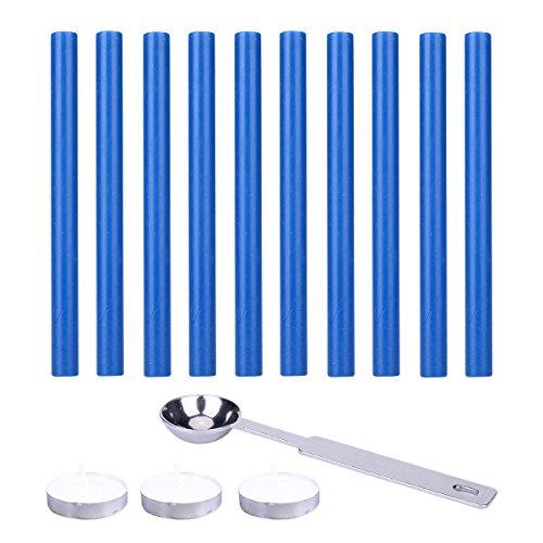 Set di 10 bastoncini per sigillare la cera con 1 cucchiaio per sciogliere la cera e 3 candele, per timbro, lettere e inviti, 13,5 x 1 cm Blue