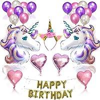 Unicorn Party Supplies and Decorations Set - With Glitter Unicorn Headband Unicorn Balloons Gold Happy Birthday Banner Latex & Foil Balloons 26 Piece Unicorn Theme Decor Pack