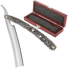 Witasm Navaja de afeitar clásica afeitado tradicional con caja de estilo vintage navaja de barbero profesional