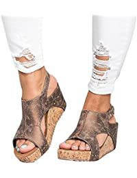 Sandalias Mujer Cuña Alpargatas Plataforma de Tacón Alto Flip Flop Verano  Elegante Zapatos Zapatillas Romanas Gladiador adc83f675144