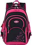 Cartable fille, Coofit Sac a dos fille en Oxford Cartable enfant primaire Sac ecole fille Sac a dos college fille Cartable primaire college ecole scolaire pour fille (Rose - Noir)