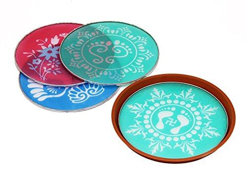 Designer Schablone Boden Art Decor Set von 4mit traditionellen indischen Motiven und Mustern Festliche Party (Indische Party Dekorationen)