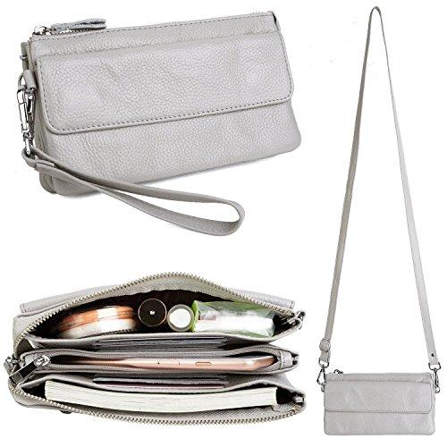 YALUXE Handtasche Damen Echtleder Smartphone Wristlet Crossbody Kupplungtasche mit RFID-Kartenschlitzen Lichtgrau - Rfid Crossbody Handtasche