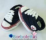 Patucos para Bebé, tipo Converse, 3-6 meses, Azul Marino. Hecho a Mano. Crochet. España