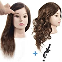 """Ersiman 100% 18"""" Human Hair Hairdressing Training Head Cosmetology Manikin Mannequin Head with Free Clamp"""