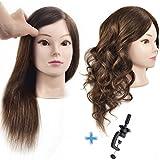 Ersiman Übungskopf mit 46cm langen menschlichen Haaren, 100% Echthaar, Puppenkopf für Friseure und Kosmetiker, mit gratis Schraubklemme