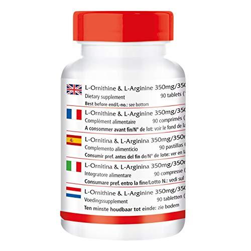 L-Ornithin & L-Arginin 350mg/350mg – – für 22 Tage – VEGAN – HOCHDOSIERT – 90 Tabletten – Aminosäuren
