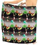 LA LEELA Männer Badeanzug Pareo Handtuch Wickeln Sarong Vertuschung Weihnachten WEIHNACHTSMANN Jingle Bells Weihnachtsbaum Schwarz_C70 72