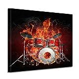 Leinwandbild Burn brennendes Skelett Schlagzeug 60 x 60 cm