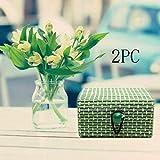 TianranRT Caja de Almacenamiento Cosmética,2 Unids Anillo Collar Pendientes Caja de Madera de Bambú Titular de La Joyería Elegante,Cajas de Almacenamiento Verde