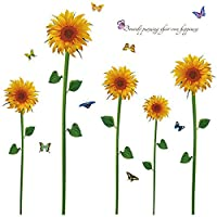 "DNVEN (53""w x 53""h) Sunflowers Butterflies Removable PVC Flower Wall Window Decals Stickers Decor for Girls Rooms Bedroom Nursery"