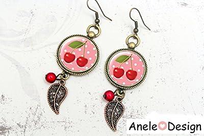 Boucles d'oreilles Cerises - cabochon rouge bronze