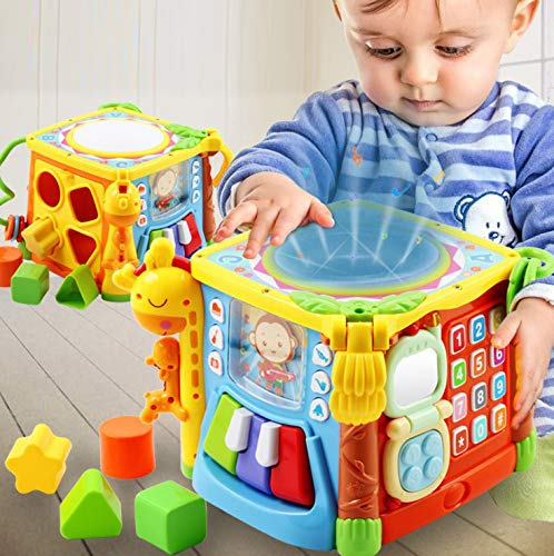 WISHTIME Musical Activity Cube Baby Toy 5 in 1 Music Drum Colorful Fun House Electronic Geometric Blocks Learning Educational Toys Preschool Toys Gift for Baby Children Kids Toddlers