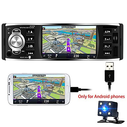 PolarLander coche de radio de 4 pulgadas HD estéreo Bluetooth MP5 reproductor de pantalla de espejo para Android teléfono 1 Din USB / SD / FM con cámara trasera
