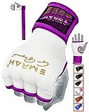 EMRAH Boxe Boxe Bande per Le Mani Polsini Elastici Boxing MMA Bandages Guanti da Immersione Completa Boxe avvolge Impugnatura Pugilato Mano avvolge MMA Mano Boxing Wraps (Bianco/Viola, Grande)