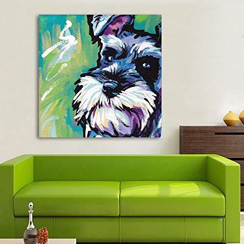 Moderne Tier Abstrakte Leinwand Kunst Schnauzer Hund Pop Art Wandbilder Für Wohnzimmer Wohnkultur Gemälde Malerei-60x60 cm kein Rahmen -