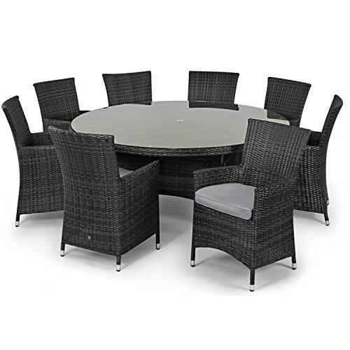 San Diego Baby Rattan Garden Furniture Grey 8 Seater Round
