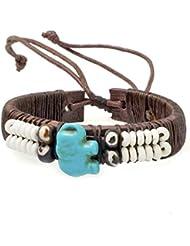 PAPAYANA Hippes Leder-Armband besetzt mit türkisen Steinen in Elefant-Form