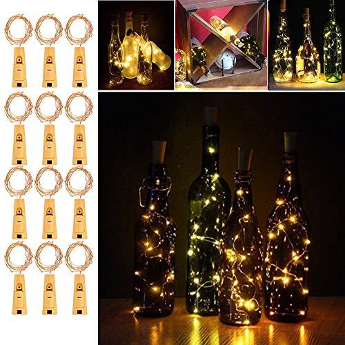 Flaschenlicht lichterkette,RcStarry(TM) Weinflaschen LED lichterkett, 12er stück 2M 20 Leds kupferdraht Licht Sternenlicht für Flasche DIY, Weihnachten Hochzeit und Party Halloween - Halloween-party-diy